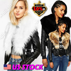 Womens Fur Leather Black Faux Fur Coats Biker Collar Aviator Punk Jackets US