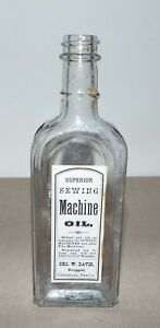 CENTRALIA PA GEO. W. DAVIS DRUGGIST SUPERIOR SEWING MACHINE OIL BOTTLE b $35.00