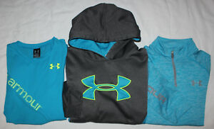 Under Armour Hoodie Shirt 14 Zip Pullover Girls size Large L LG Blue Clothes