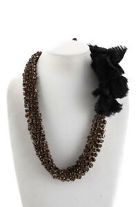 Vera Wang Black Leather Yellow Rhinestone Accented Rosette Detail Tie Necklace