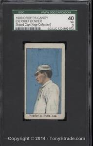 1909 E92 Croft's Candy Chief Bender Striped Cap (Nagy Collection) SGC 40