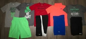 Lot 9 Boy's UNDER ARMOUR NIKE Loose Polo Shirts Athletic Cargo Shorts YLG Large