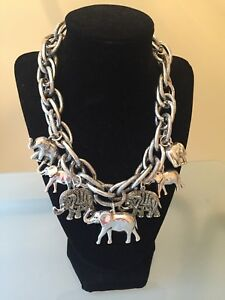 NWOT Silver Elephant Charm Link Statement Necklace