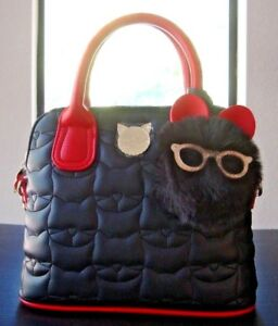NWT Betsey Johnson Black Quilted Cat Pattern Faux Leather Crossbody Bag Handbag