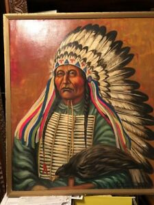 Louis Shipshee oil painting Roman Nose Chief of the Cheyennes Original 30