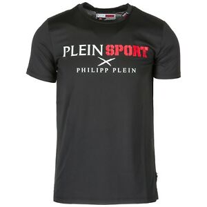 PLEIN SPORT MEN'S SHORT SLEEVE T-SHIRT CREW NECKLINE JUMPER NEW CROSS BLACK 820