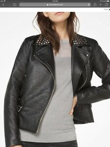 $350  Michael Kors Studded Faux Leather Moto Jacket Black S