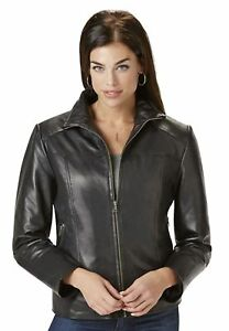 Women's Excelled Plus Lambskin Leather Scuba Jacket Black 2X #NK8T9-916