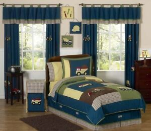 Jojo Blue Brown Construction Trucks Tools Full Queen Sized Bedding Set for Boys