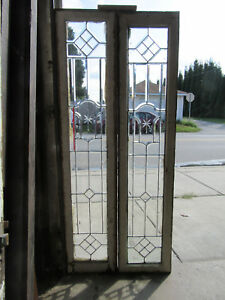 ~ PAIR ANTIQUE FULL BEVELED LEADED GLASS SIDELITES ~ 14 x 66 EACH ~ SALVAGE ~