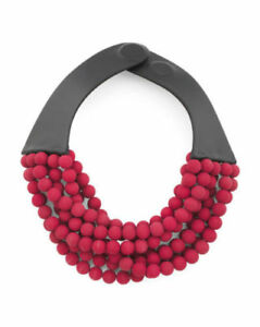 NEW FAIRCHILD BALDWIN Leather Bella Luxe Matte Beaded Collar Necklace Burgundy