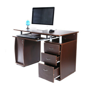 Home Office Computer Desk Laptop PC Study Table With 3 Drawers Brown Furniture