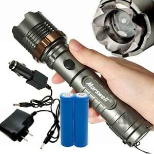 5000Lumen LED Zoom Flashlight Torch Rechargeable w18650 Battery + Charger