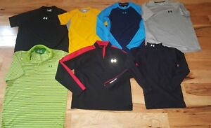 Lot Of 7 Under Armour Golf polo Shirt Mens Medium Heat gear thermal compression