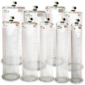 LeLuv Acrylic Cylinder for Penis Pump Untapered 9 & 12 Inch with Female Valve