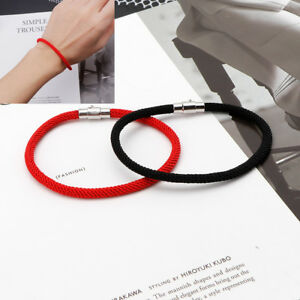 Lucky Kabbalah Red Black Braided String Bracelets With Magnetic Clasp Jewelry