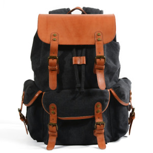 Vintage Men's and Women's Waterproof Canvas + Oil Wax Leather Backpack Black
