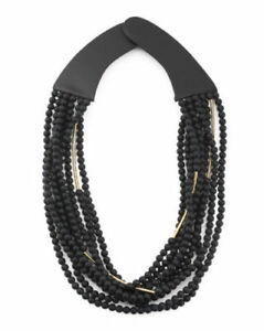 FAIRCHILD BALDWIN Handmade In Italy Leather  Necklace black gold 26
