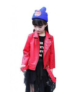 The Twins Dream Girls Faux Leather Jacket Motorcycle for Kids Baby Coat Boys...