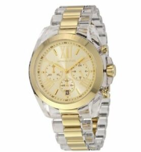 MICHAEL KORS Bradshaw Gold Clear Chronograph Bracelet Watch  MK6319    NEW