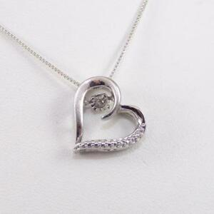 Sterling Silver Diamond In Rhythm Motion Heart Pendant Necklace 18