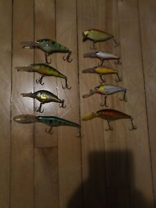lot of 9 quality fishing lure live target  blue fox  storm flicker shad
