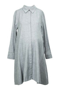 Hatch Maternity Maggie gray flannel button placket shirt dress NEW $258
