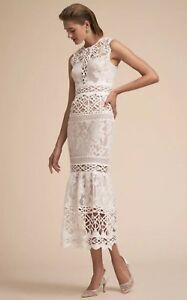 NWT $700 ML Monique Lhuillier Arabella Dress Size 6 White Mixed Lace Wedding