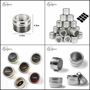 Magnetic Spice Tins Stainless Spice Jar Set With Stickers Pepper Shakers kitchen