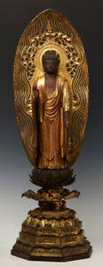 Late 17th Century Edo Antique Japanese Wooden Standing Buddha with Royal Style