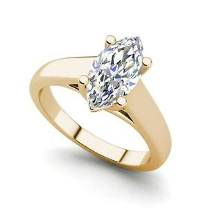 Solitaire 0.75 Carat SI1D Marquise Cut Diamond Engagement Ring Yellow Gold