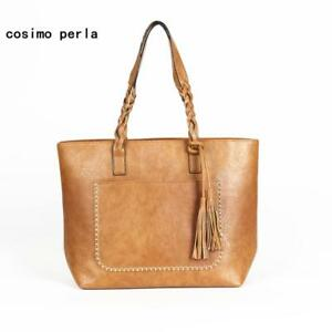 Large Brand Fashion Shoulder Bags for Women 2018 Fall Leather Fringe Handbags Re