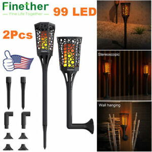 2X 99 LED Solar Torch Light Flickering Flame Waterproof Outdoor Garden Yard Lamp