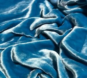 TURQUOISE BLUE Silk VELVET Fabric