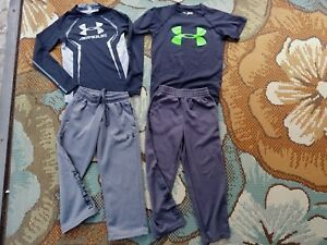 UNDER ARMOUR Athletic COLDGEAR PANTS SHIRTS (Lot of 4) Size YOUTH XS 6 Kids