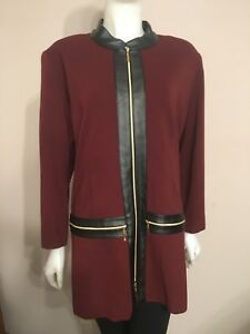 Exclusively MISOOK Woman Burgundy Faux Leather Trim Zip Jacket  3x