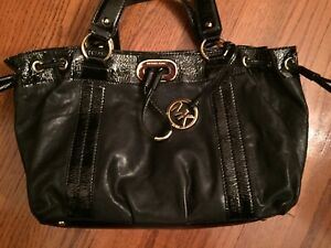 MICHAEL KORS HANDBAG PURSE- Soft Black Leather Patent Leather Trimmed -10