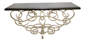 Modern Designer Silvered Iron & Black Marble Top Console Table