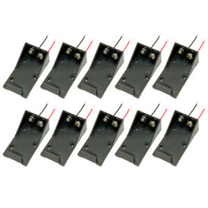 10X Batteries Storage Box Case DIY Holder for 9V Cells Battery w Wired Leads N3