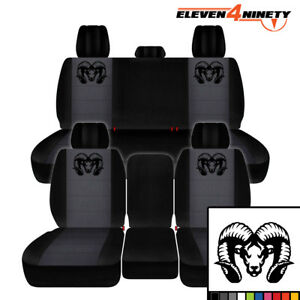 2011-2018 DODGE RAM 1500 CAR SEAT COVERS BLACK CHARCOAL W LONGHORN RAM DESIGN
