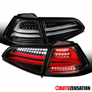 For 15-17 VW GTI Golf MK7 Black Full LED Replacement Tail Lights Brake Lamp Pair