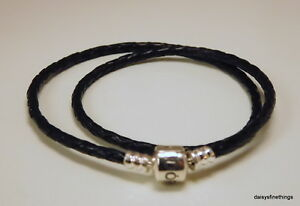 NEWTAGS AUTHENTIC PANDORA SILVER LEATHER BRACELET BLACK #590705CBKD2 38CM