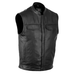 """DEFYâ""""¢ SOA Mens Motorcycle Club Leather Vest Concealed Carry Arms Solid Back $39.99"""