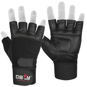 DEFY Real Leather Padded Gym Gloves Fitness Weightlifting Training Long Wrist $6.99