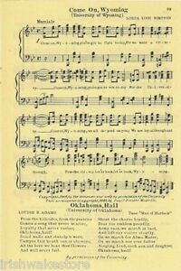 UNIVERSITY OF WYOMING Vintage Song Sheet c 1931 quot;Come On Wyomingquot; Original