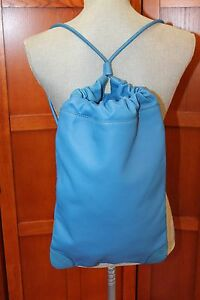 NEW Burberry Blue Leather Abnna Backpack ShoulderBag Purse Rucksack with Pouch