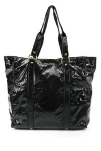 Miu Miu Patent Leather Soft Tote Shoulder Handbag Black Gold Large