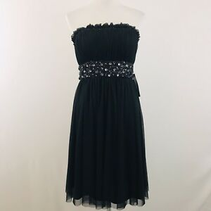 NWT JS Boutique Women's Sz 6 Black Short Formal Cocktail Dress Prom Rhinestone