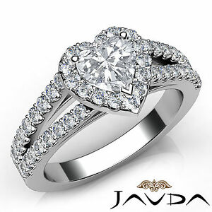 Unique Heart Diamond Halo Prong Set Engagement Ring GIA H VS2 Platinum 1.25Ct