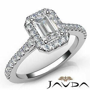 Shared Prong Set Emerald Diamond Classic Engagement Ring GIA H VVS2 Platinum 1Ct